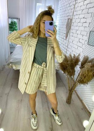 Женский классический костюм с шортами в полоску лён