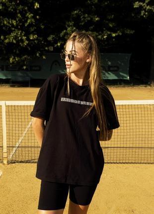 Женский костюм футболка + шорты comfort черные с рефлективным принтом-1617191592