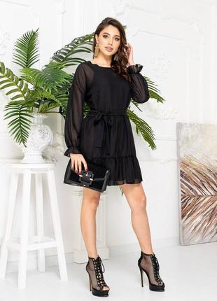Платье женское легкое летнее нарядное шифоновое короткое мини черное