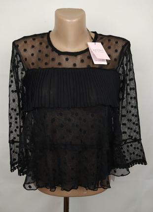 Блуза новая шикарная гофре сеточка воланы miss selfridge uk 4/34/xxs