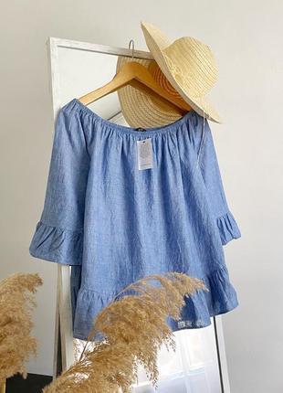 Блуза на спущенные плечи из хлопка и льна f&f