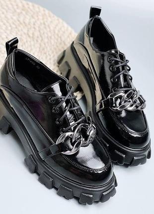 🍁туфли лоферы на платформе и шнуровке с цепью🌿