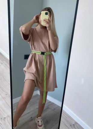 Женское базовое платье футболка с светоотражающие ремнем