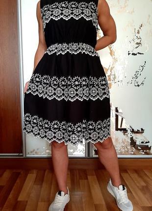 Новое черное платье из шитья из тончайшего 100%хлопка