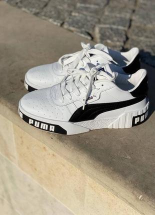 Кроссовки черно-белые puma cali white/black пума кросівки чорно-білі