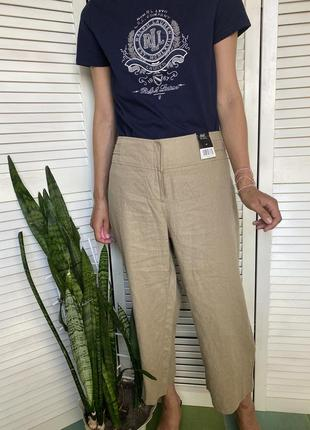 Укорочённые льняные брюки прямого кроя на высокой посадке f&f! новые!