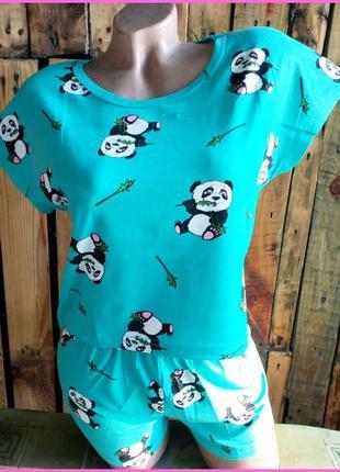 """Крутая хлопковая пижама, шортики и футболка для дома """"веселая панда"""". материал - бамбук"""