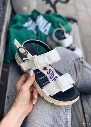 Босоножки беж, обувной текстиль