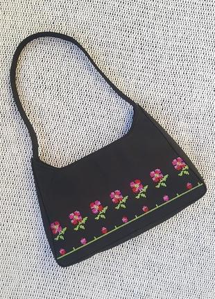 Уникальная винтажная сумка багет jane shilton с вышивкой крестиком, цветочный принт, сумочка на плечо