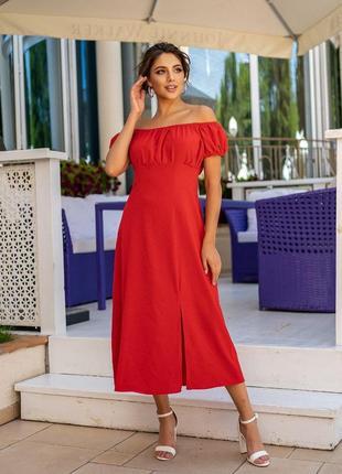 Летнее платье миди софт разные цвета