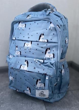Качественный школьный рюкзак (портфель, сумка) с единорогами голубой единорог