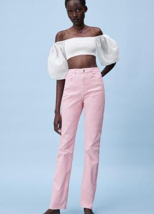 Джинсы zara /розові джинси zara / джинсы с разрезами