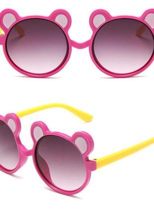 Веселые солнцезащитные детские очки с ушками мишка розово-желтые