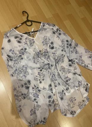 Пляжная туника большой размер, туника на купальник, блуза