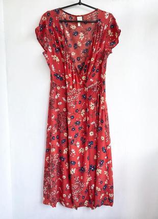Натуральное цветочное платье миди на запах h&m