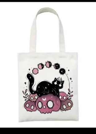 Сумка для покупок шоппер с принтом черный кот розовый череп фазы луны мистика полнолуние магия готика