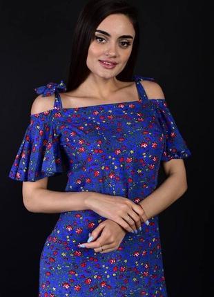 Женское платье цветочный принт с открытыми плечами/ натуральная ткань/ цветы/ на завязках/ свободный фасон
