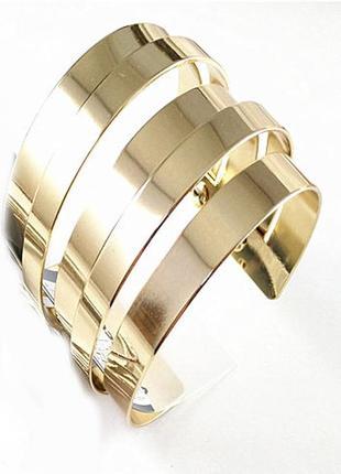 Широкий стильный браслет в минималистичном стиле бижутерия