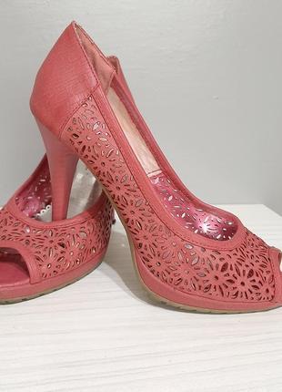 Шикарні літні туфлі gabriela julian на каблуку тепло рожевого кольору🔥❤