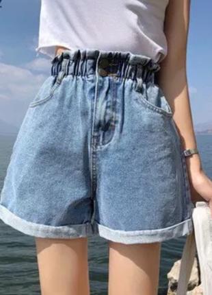 Джинсовые шорты мом с высокой посадкой с поясом на резинке