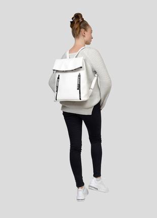 Белый брендовый женский вместительный рюкзак для ноутбука экокожа