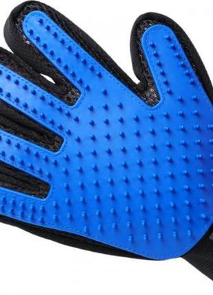 Перчатка для вычесывания шерсти с домашних животных pet brush glove, синяя