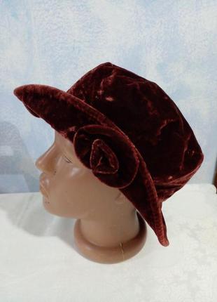 Велюровий оксамитовий капелюшок бохо