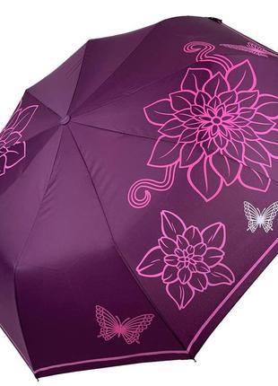 Женский складной зонт-полуавтомат от flagman с принтом цветов, фиолетовый, fl511-1