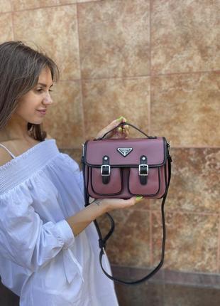 Сумка женская, magicbag, эко-кожа, с двумя кармашками с пряжками, красная