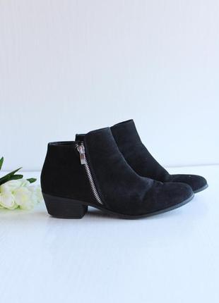 """Стильные """"замшевые"""" ботинки полусапожки с молинией сбоку"""