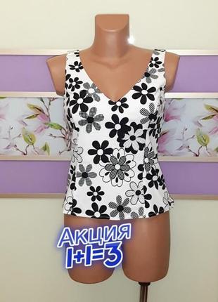 1+1=3 стильная белая блуза блузка топ в цветочный принт new look, размер 42 - 44