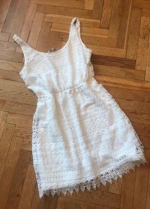 Белое ,кружевное платье,сарафан,clockhouse hements collection
