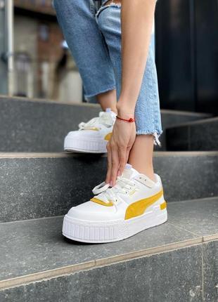 ❤ женские белые кожаные кроссовки puma cali yellow   ❤