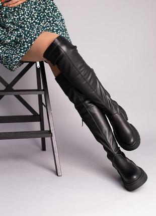 Сапоги-чулки, ботфорты женские кожаные черные 6763-1д
