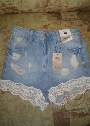 Шорты джинс высокая талия
