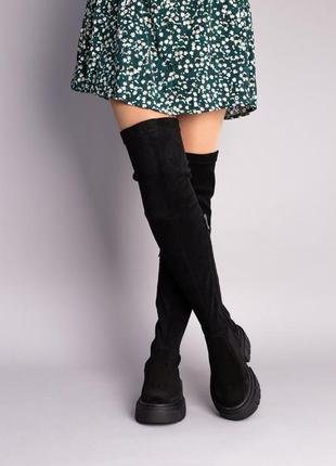 Сапоги-чулки, ботфорты женские замшевые черные 6763д