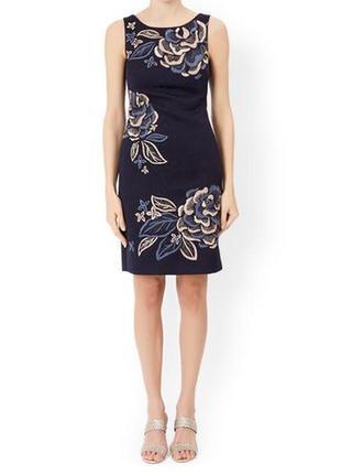 Красивое фактурное жаккардовое платье, в цветочек, вышиванка, с вышивкой