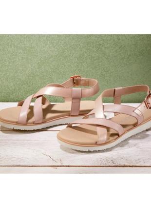 Натуральные кожаные босоножки, женские сандалии esmara