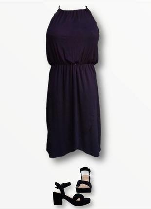Стильный чёрный сарафан из натуральной ткани ,юбка на запах f&f
