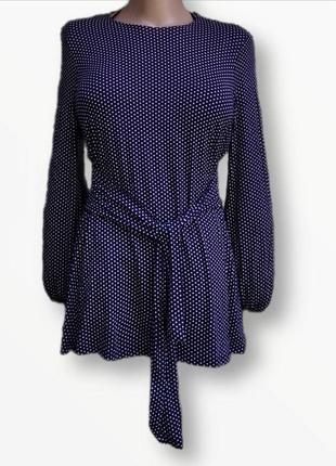 Стильная блузка,туника в горох из натуральной ткани tu