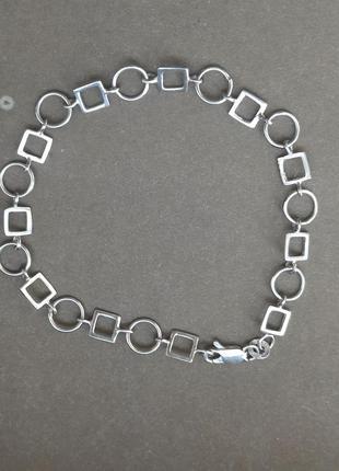 Красивый винтажный браслет серебро 925,геометрический
