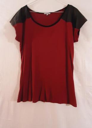 Дизайнерская футболка из вискозы с кожаными вставками от liz devy
