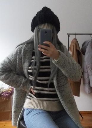 Зимнее теплое оверсайз пальто бойфренд