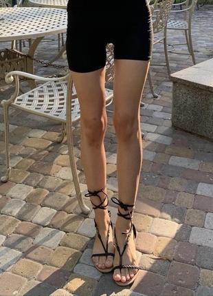 Босоножки сандали чёрные на завязках вьетнамки plato плетенка плоские