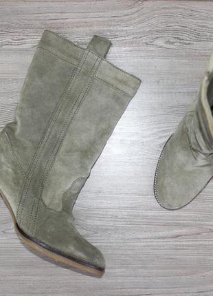 39 25см asos замшевые сапоги на каблуке утепленные широкая холявка