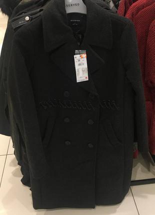-50% скидка! xs-xl стильное длинное модное пальто теплое черное шерсть шнуровка
