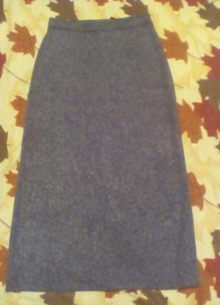 Трикотажная меланжевая макси юбка размер 10-12