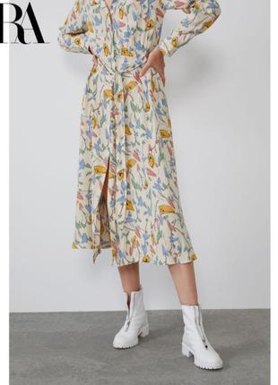 Zara платье рубашка на пуговицах с поясом zara