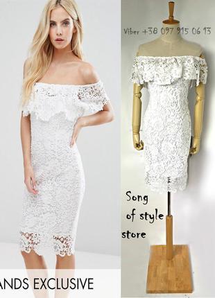 Paper dolls кружевное платье-футляр с открытыми плечами и оборками