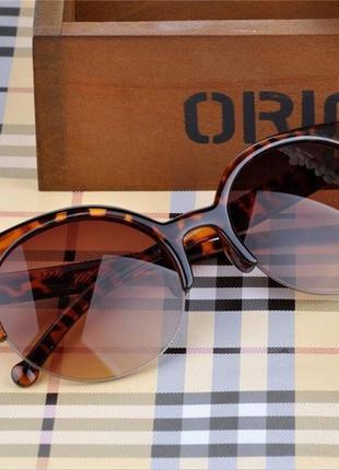 Очки окуляри леопард коричневые солнце солнцезащитные стильные трендовые кошки новые уценка! нюанс!